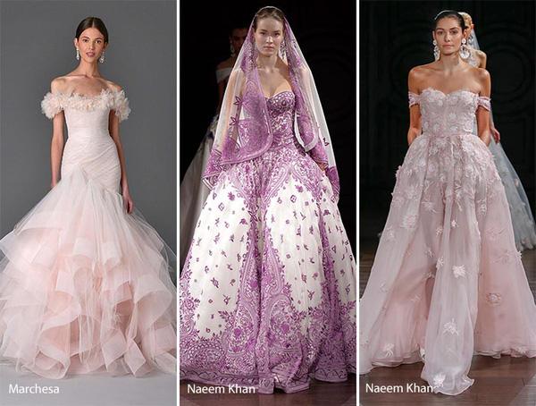 Phong cách năm nay nổi bật hơn với nhiều váy cưới nhiều màu sắc