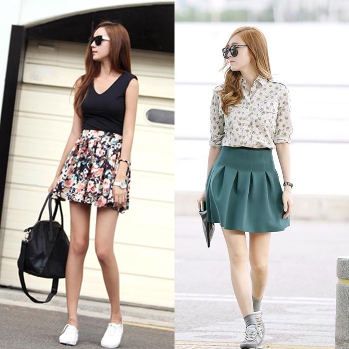 váy ngắn và giày thể thao độn đế một sự lựa chọn tuyệt với cho những cô nàng thích sự trẻ trung ,năn động