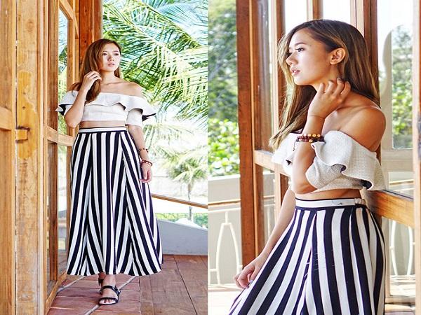 Chân váy maxi dài mix với áo crop top