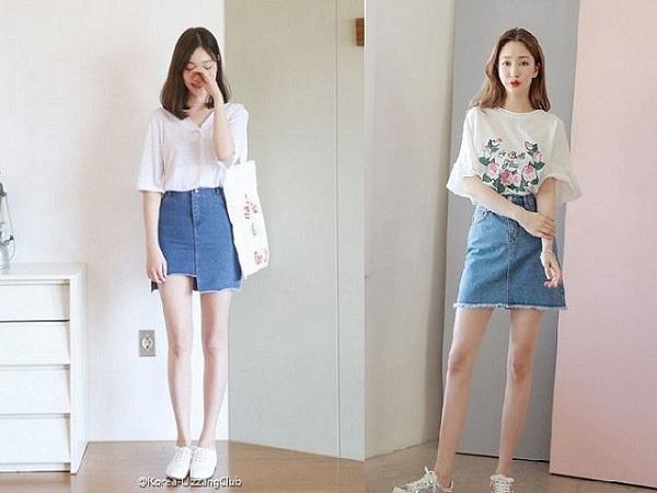 Chân váy jean mặc với áo gì?