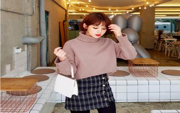 Chân váy dạ mix với áo len