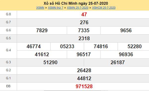 Thống kê XSHCM 27/7/2020 - KQXS Hồ Chí Minh thứ 2