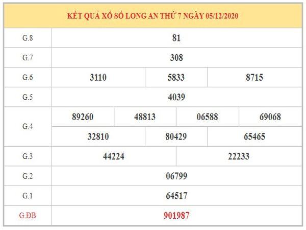 Thống kê KQXSLA ngày 12/12/2020 dựa trên kết quả kì trước