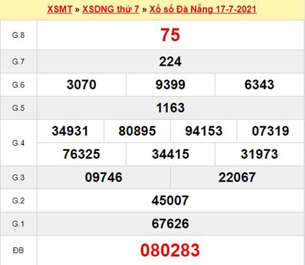 Thống kê XSDNG 21/7/2021 tham khảo cặp số đẹp thứ 4